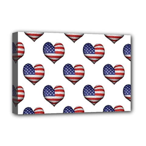 Usa Grunge Heart Shaped Flag Pattern Deluxe Canvas 18  x 12
