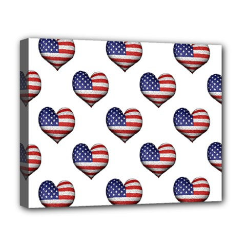Usa Grunge Heart Shaped Flag Pattern Deluxe Canvas 20  x 16