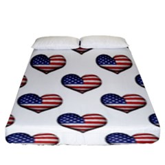 Usa Grunge Heart Shaped Flag Pattern Fitted Sheet (King Size)