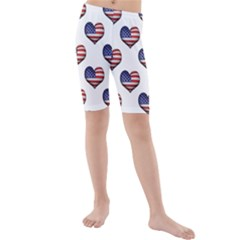 Usa Grunge Heart Shaped Flag Pattern Kids  Mid Length Swim Shorts