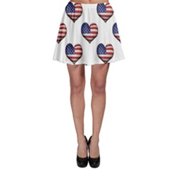 Usa Grunge Heart Shaped Flag Pattern Skater Skirt