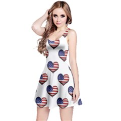 Usa Grunge Heart Shaped Flag Pattern Reversible Sleeveless Dress