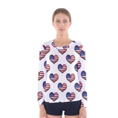 Usa Grunge Heart Shaped Flag Pattern Women s Long Sleeve Tee