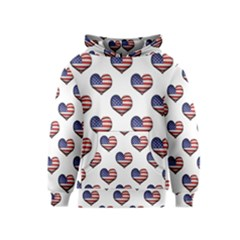 Usa Grunge Heart Shaped Flag Pattern Kids  Pullover Hoodie