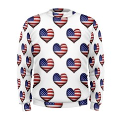 Usa Grunge Heart Shaped Flag Pattern Men s Sweatshirt