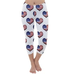 Usa Grunge Heart Shaped Flag Pattern Capri Winter Leggings