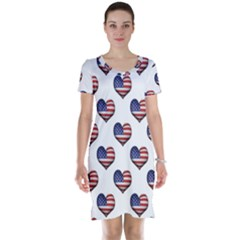 Usa Grunge Heart Shaped Flag Pattern Short Sleeve Nightdress