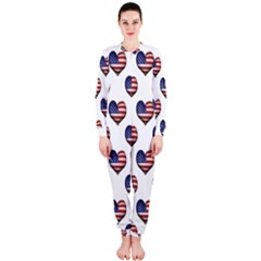 Usa Grunge Heart Shaped Flag Pattern OnePiece Jumpsuit (Ladies)