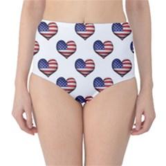 Usa Grunge Heart Shaped Flag Pattern High-Waist Bikini Bottoms