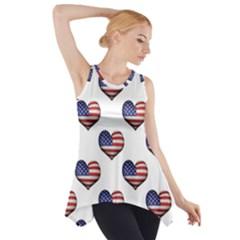 Usa Grunge Heart Shaped Flag Pattern Side Drop Tank Tunic