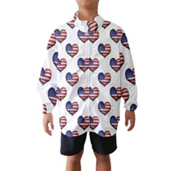 Usa Grunge Heart Shaped Flag Pattern Wind Breaker (Kids)