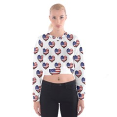 Usa Grunge Heart Shaped Flag Pattern Women s Cropped Sweatshirt