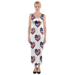 Usa Grunge Heart Shaped Flag Pattern Fitted Maxi Dress