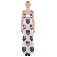 Usa Grunge Heart Shaped Flag Pattern Maxi Thigh Split Dress