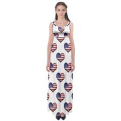 Usa Grunge Heart Shaped Flag Pattern Empire Waist Maxi Dress
