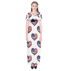 Usa Grunge Heart Shaped Flag Pattern Short Sleeve Maxi Dress