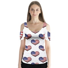 Usa Grunge Heart Shaped Flag Pattern Butterfly Sleeve Cutout Tee