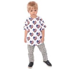 Usa Grunge Heart Shaped Flag Pattern Kids  Raglan Tee