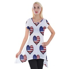 Usa Grunge Heart Shaped Flag Pattern Short Sleeve Side Drop Tunic