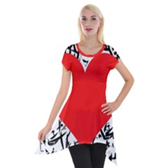 Red Valentine 2 Short Sleeve Side Drop Tunic