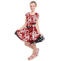 Red Graffiti Style Hart  Kids  Short Sleeve Dress