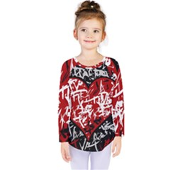 Red Graffiti Style Hart  Kids  Long Sleeve Tee