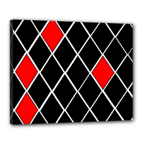 Elegant Black And White Red Diamonds Pattern Canvas 20  x 16