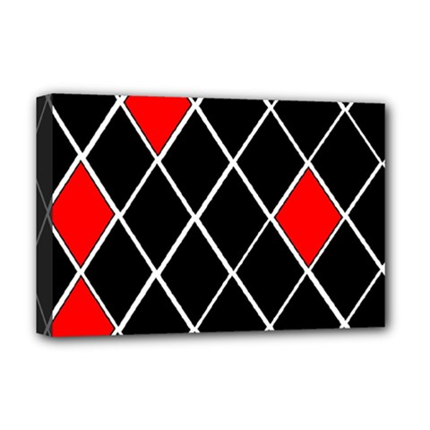 Elegant Black And White Red Diamonds Pattern Deluxe Canvas 18  x 12
