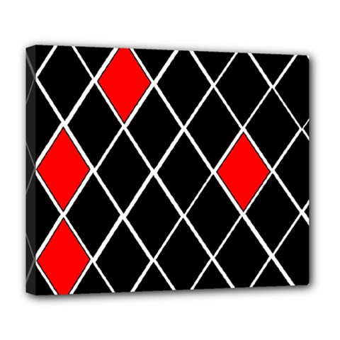 Elegant Black And White Red Diamonds Pattern Deluxe Canvas 24  x 20