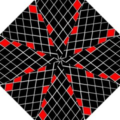 Elegant Black And White Red Diamonds Pattern Hook Handle Umbrellas (Medium)