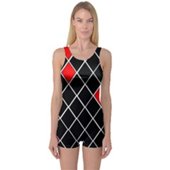 Elegant Black And White Red Diamonds Pattern One Piece Boyleg Swimsuit