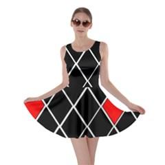 Elegant Black And White Red Diamonds Pattern Skater Dress