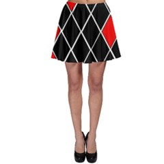 Elegant Black And White Red Diamonds Pattern Skater Skirt