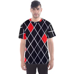 Elegant Black And White Red Diamonds Pattern Men s Sport Mesh Tee
