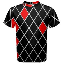 Elegant Black And White Red Diamonds Pattern Men s Cotton Tee