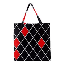 Elegant Black And White Red Diamonds Pattern Grocery Tote Bag