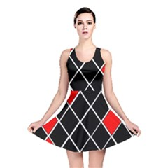Elegant Black And White Red Diamonds Pattern Reversible Skater Dress