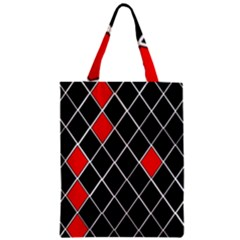 Elegant Black And White Red Diamonds Pattern Classic Tote Bag