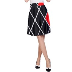 Elegant Black And White Red Diamonds Pattern A-Line Skirt