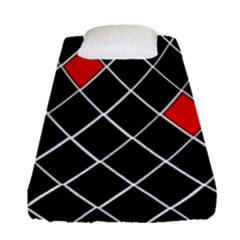 Elegant Black And White Red Diamonds Pattern Fitted Sheet (Single Size)