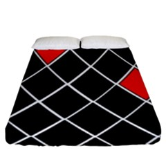 Elegant Black And White Red Diamonds Pattern Fitted Sheet (King Size)