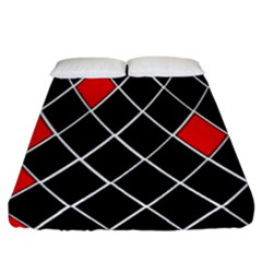Elegant Black And White Red Diamonds Pattern Fitted Sheet (california King Size)