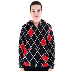 Elegant Black And White Red Diamonds Pattern Women s Zipper Hoodie
