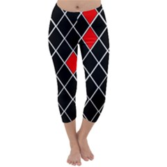 Elegant Black And White Red Diamonds Pattern Capri Winter Leggings
