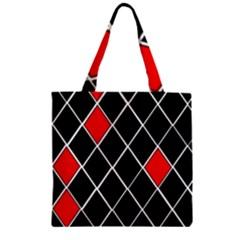 Elegant Black And White Red Diamonds Pattern Zipper Grocery Tote Bag