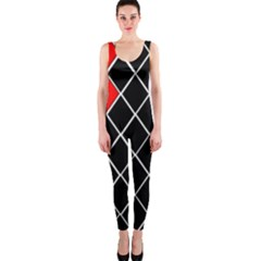 Elegant Black And White Red Diamonds Pattern OnePiece Catsuit