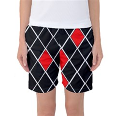 Elegant Black And White Red Diamonds Pattern Women s Basketball Shorts