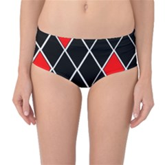 Elegant Black And White Red Diamonds Pattern Mid-Waist Bikini Bottoms