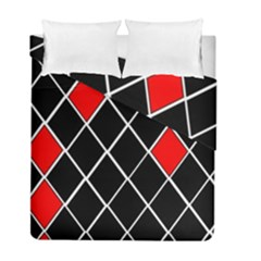 Elegant Black And White Red Diamonds Pattern Duvet Cover Double Side (Full/ Double Size)