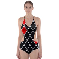 Elegant Black And White Red Diamonds Pattern Cut-Out One Piece Swimsuit